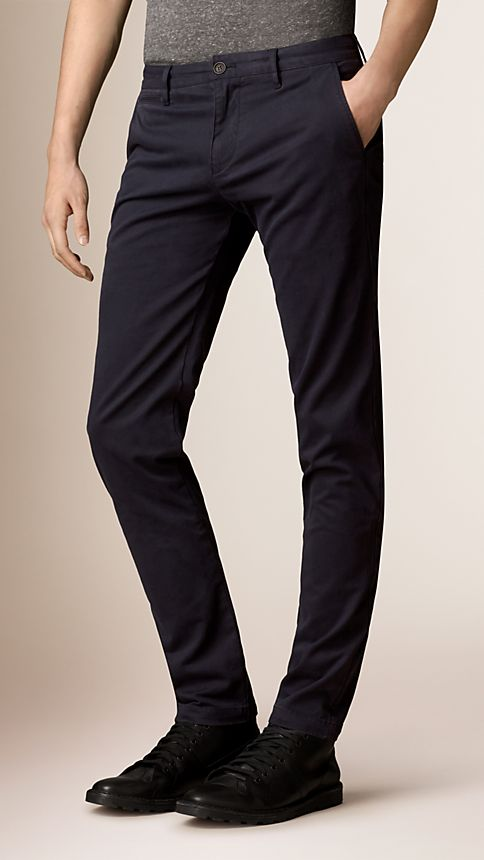 Navy Slim Fit Stretch-Cotton Twill Chinos - Image 1