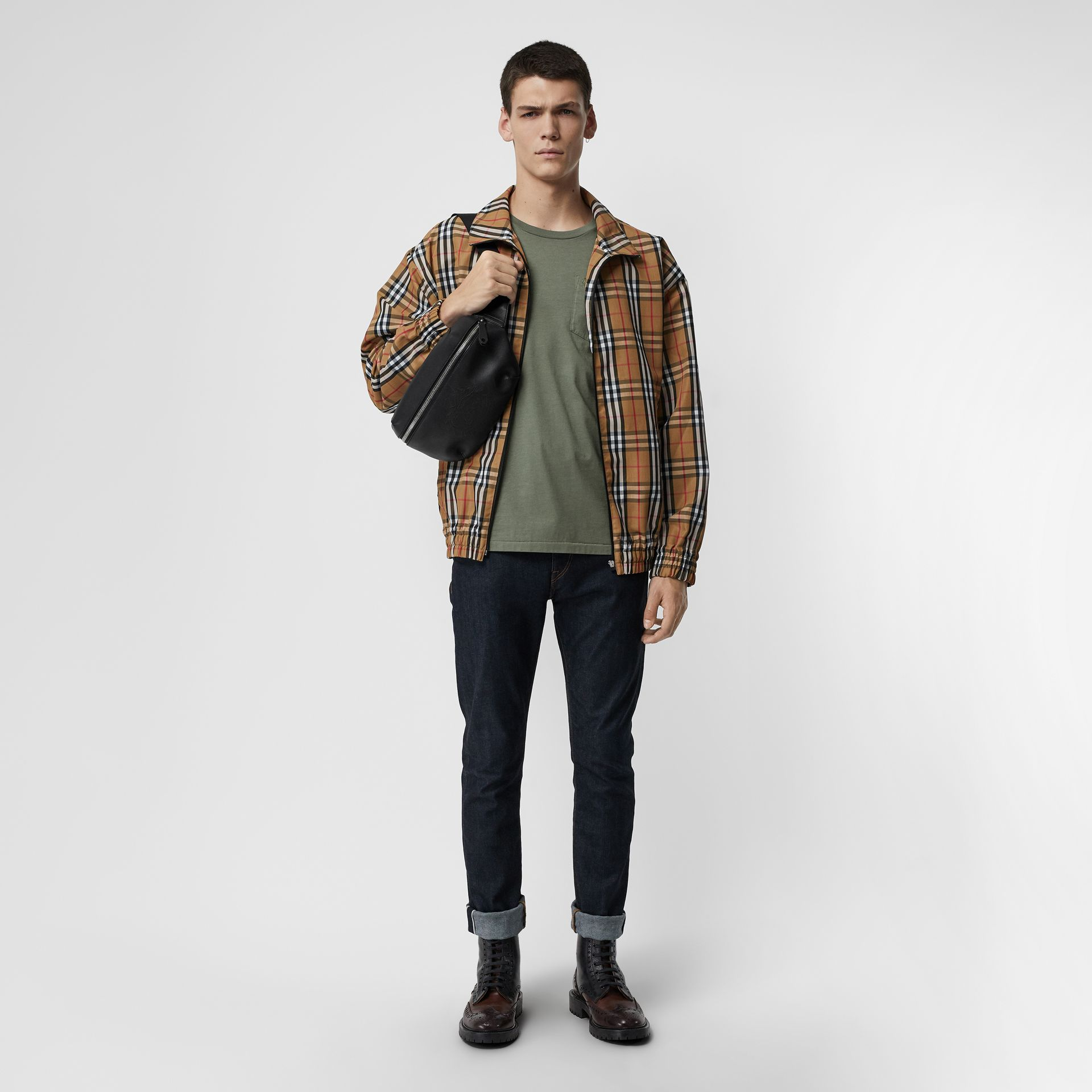 Cotton T-shirt in Clay Green - Men | Burberry - gallery image 4