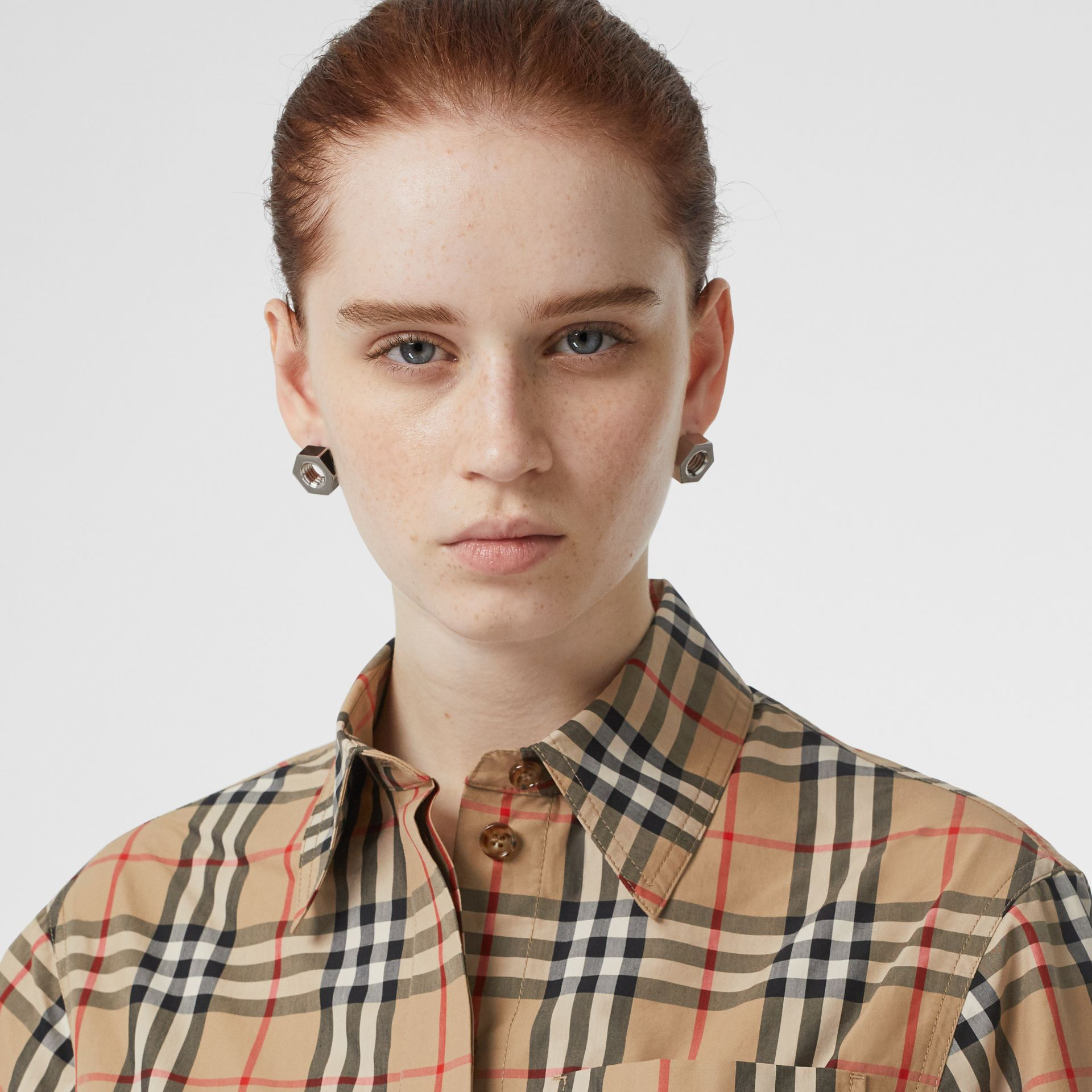 Short-sleeve Vintage Check Shirt Dress in Archive Beige - Women | Burberry - gallery image 1