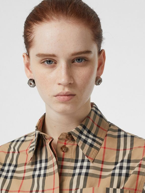 Short-sleeve Vintage Check Shirt Dress in Archive Beige | Burberry - cell image 1
