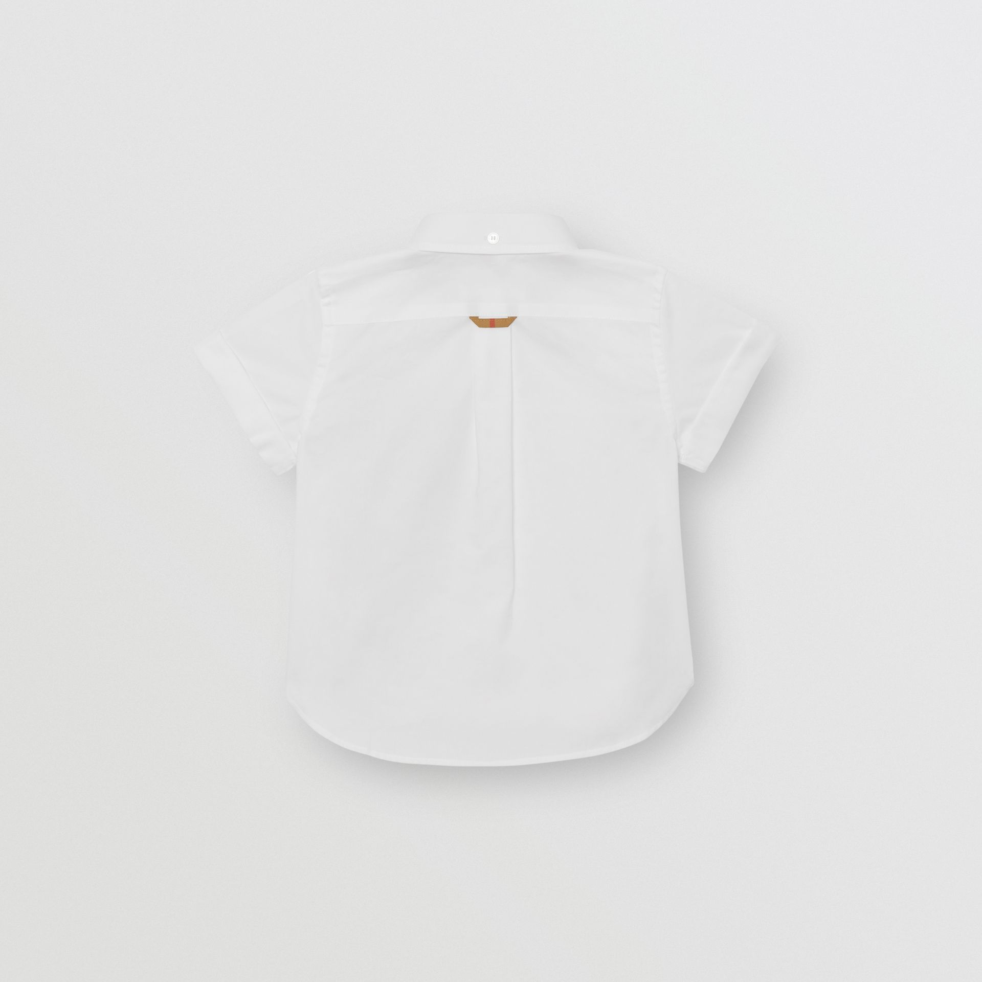 Short-sleeve Check Detail Cotton Oxford Shirt in White | Burberry - gallery image 3