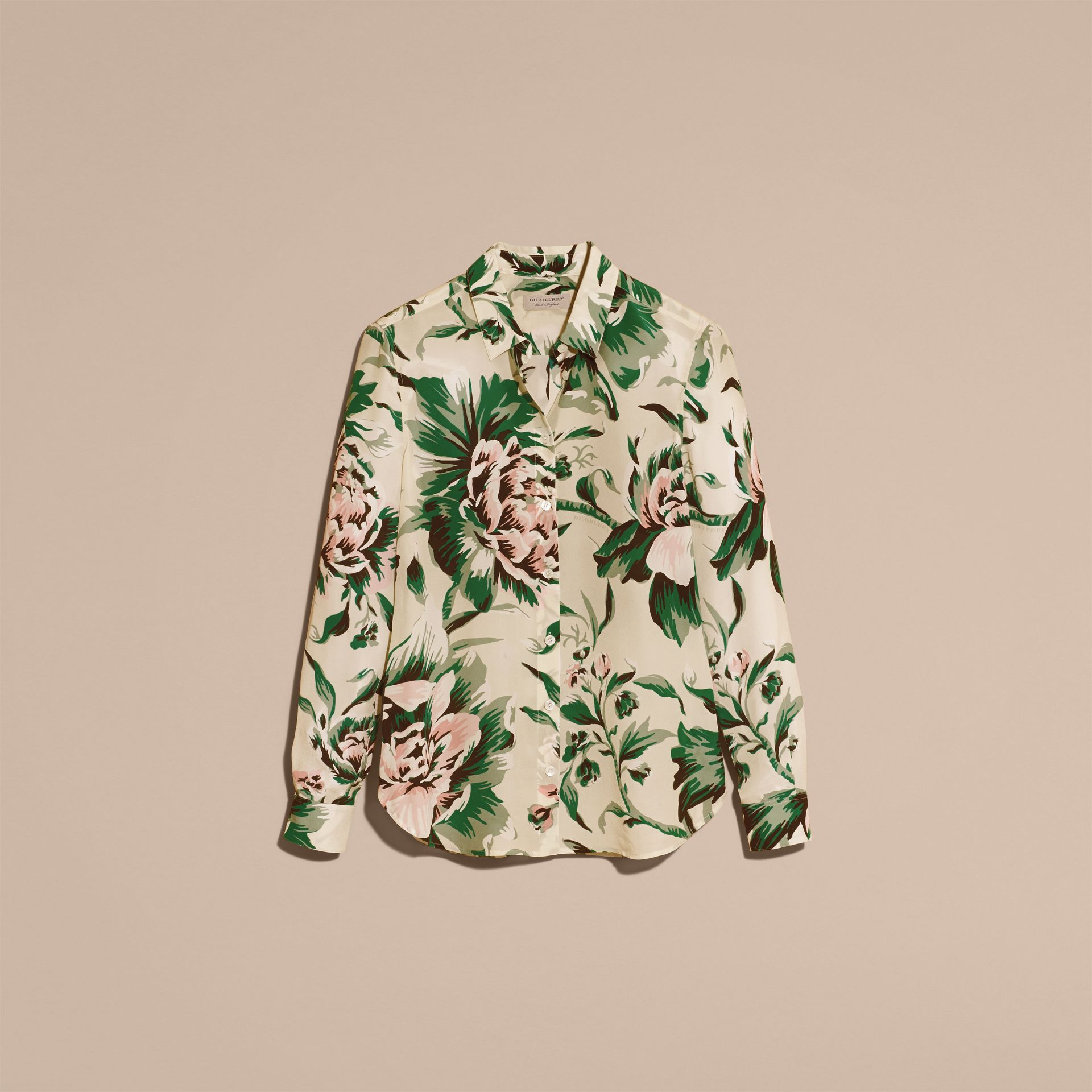 Emerald green Peony Rose Print Silk Shirt - gallery image 4