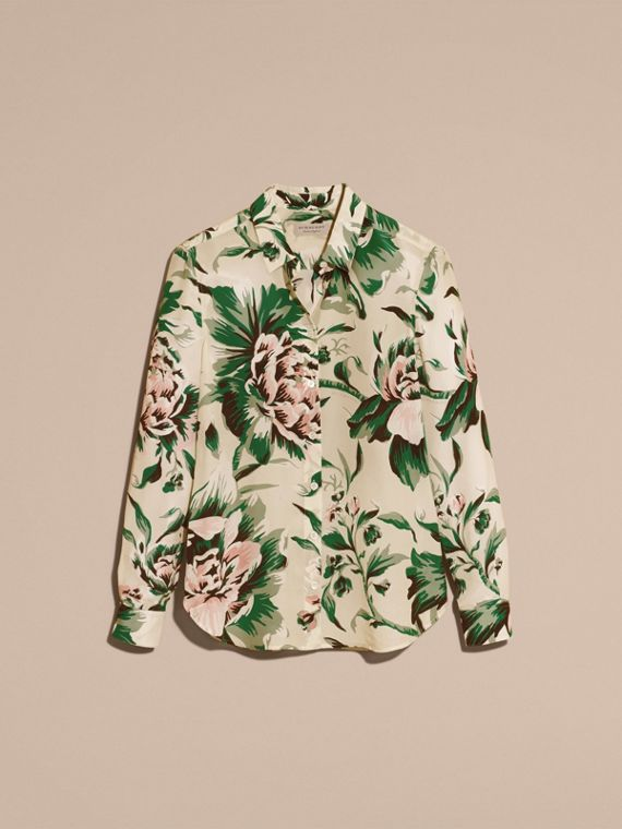 Emerald green Peony Rose Print Silk Shirt - cell image 3