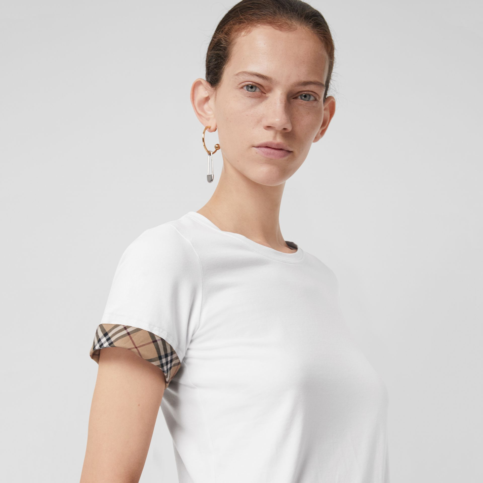 Check Detail Stretch Cotton T-shirt in White - Women | Burberry - gallery image 1