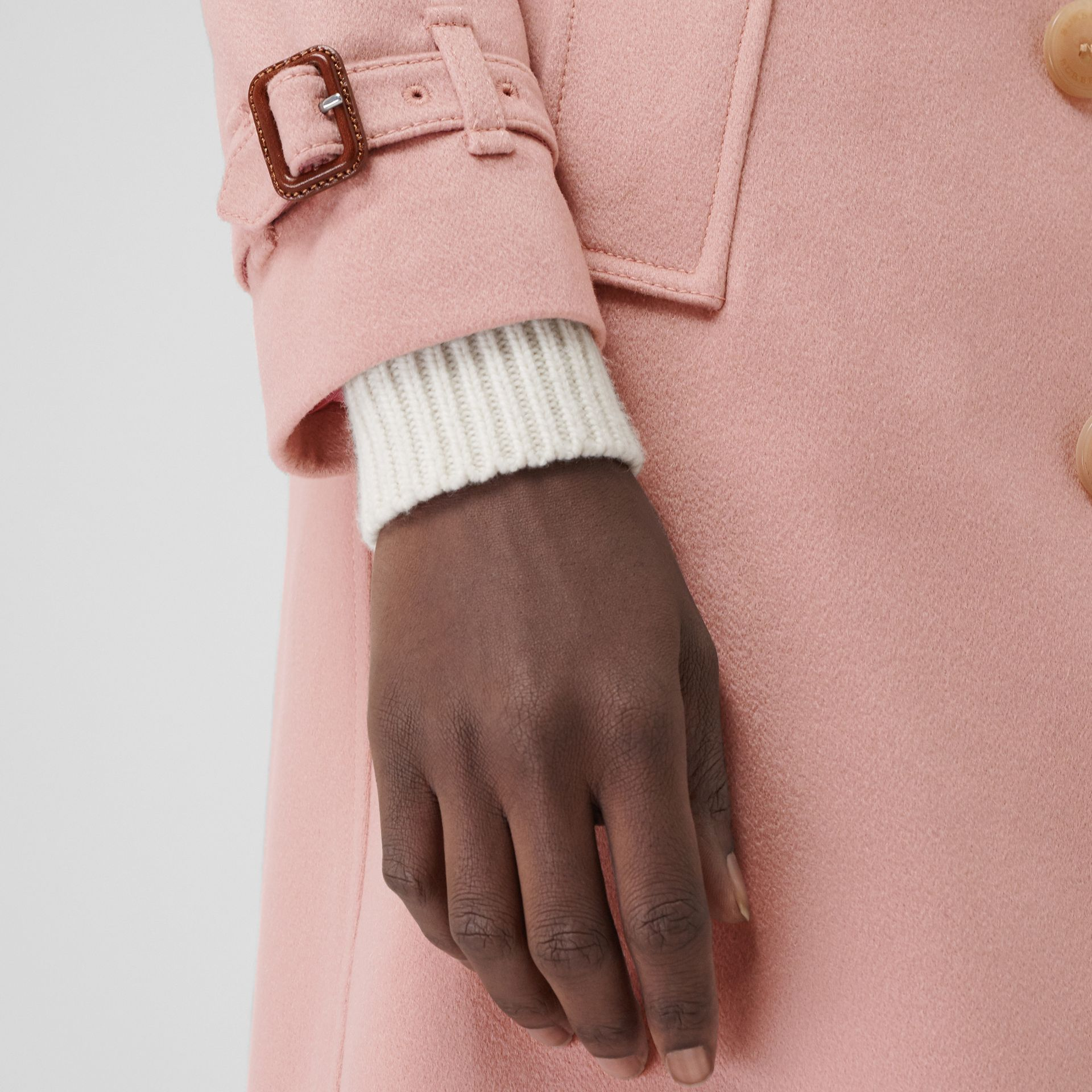 Cashmere Trench Coat in Chalk Pink - Women | Burberry - gallery image 4