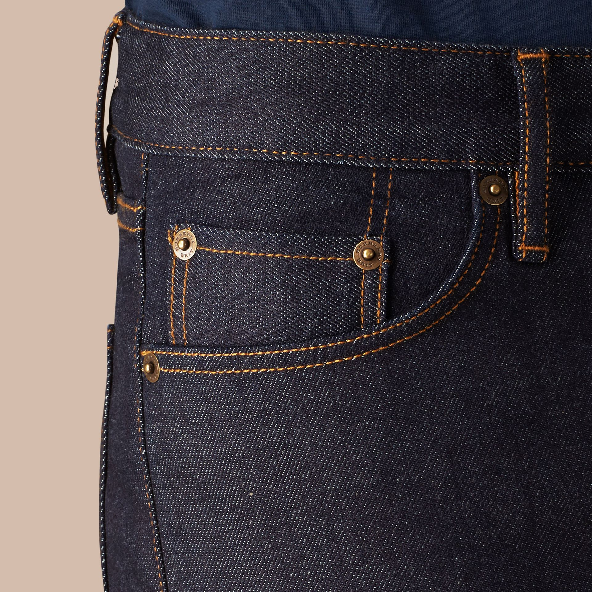 Dark indigo Slim Fit Stretch Japanese Selvedge Jeans - gallery image 5
