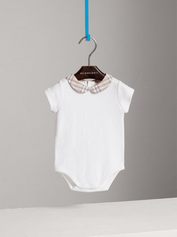 Check Collar Bodysuit in White | Burberry - cell image 2