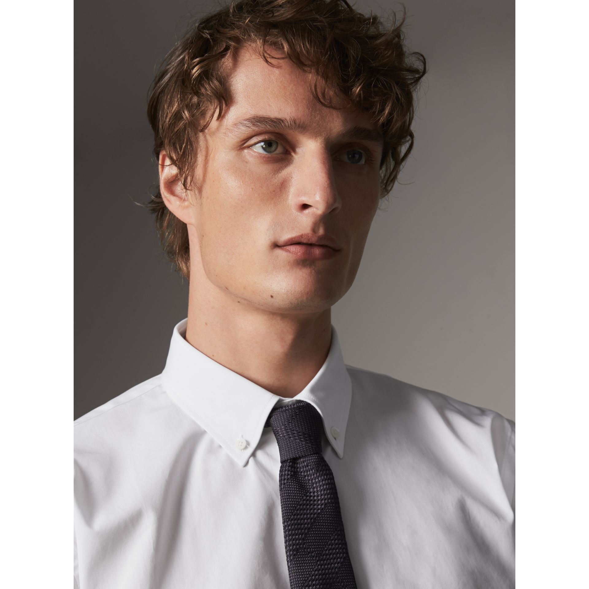 Modern Fit Button-down Collar Cotton Poplin Shirt in White - Men | Burberry - gallery image 2
