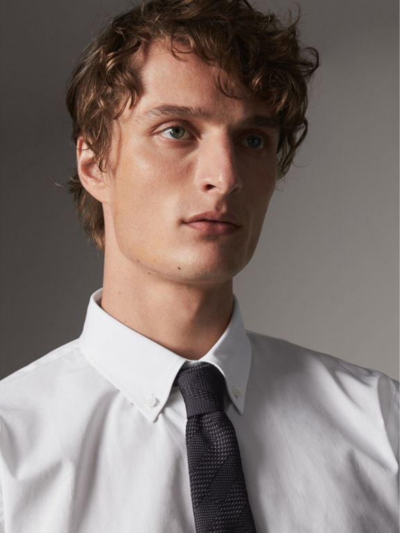 Modern Fit Button-down Collar Cotton Poplin Shirt in White - Men | Burberry United Kingdom - cell image 1