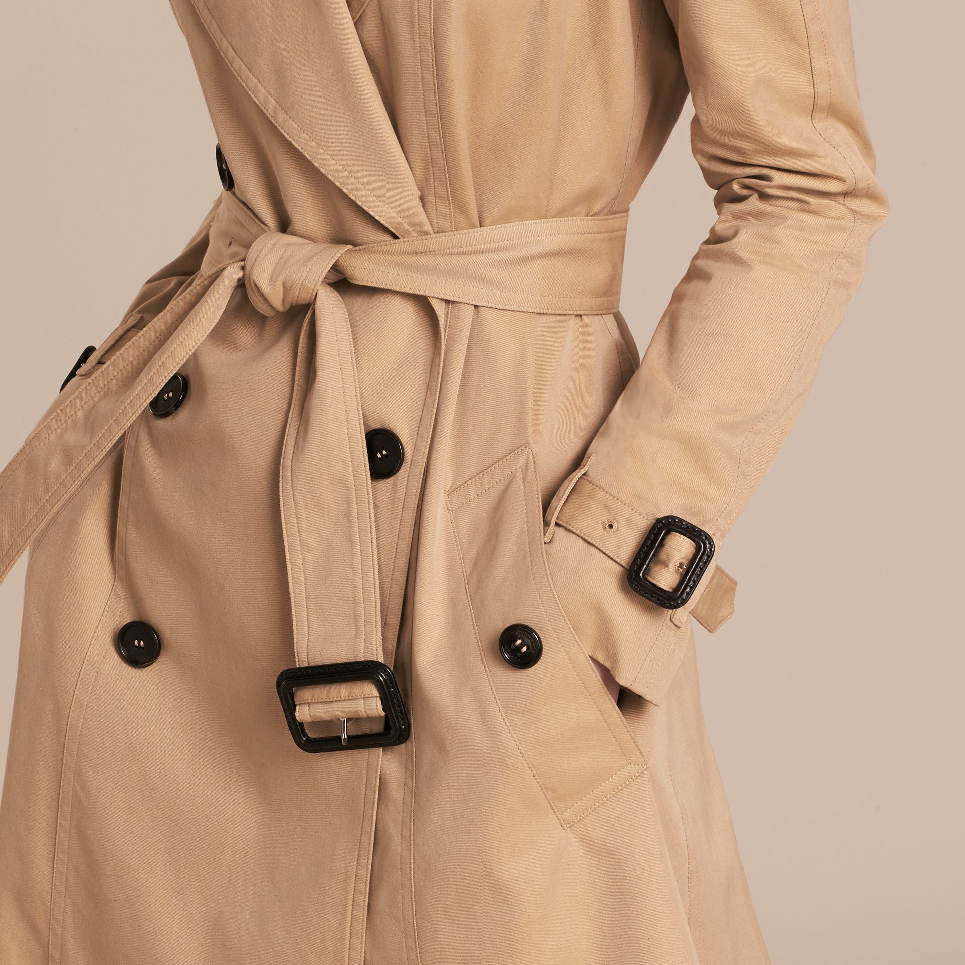 Honey Cotton Gabardine A-line Trench Coat - gallery image 5