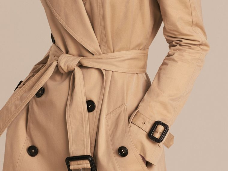 Honey Cotton Gabardine A-line Trench Coat - cell image 4
