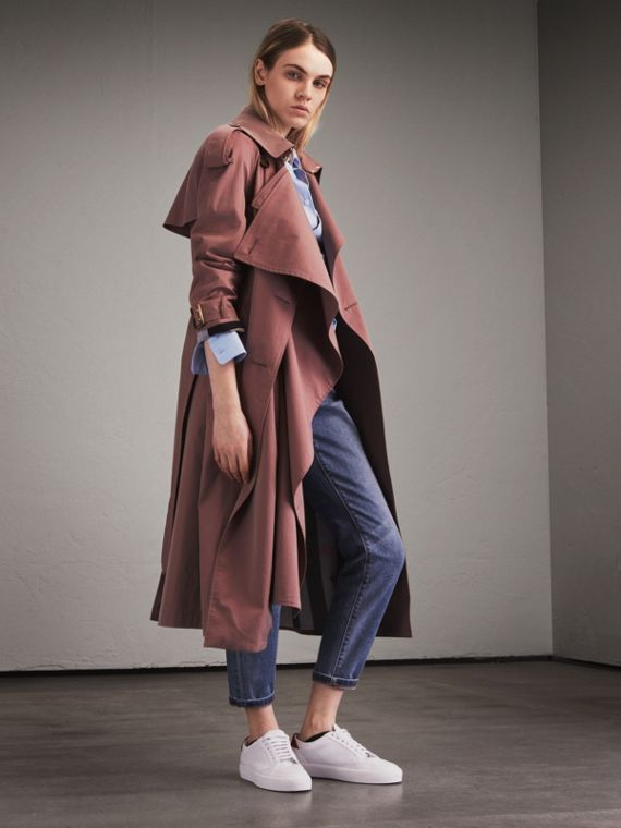 Trench coat in gabardine tropicale Rosa Antico