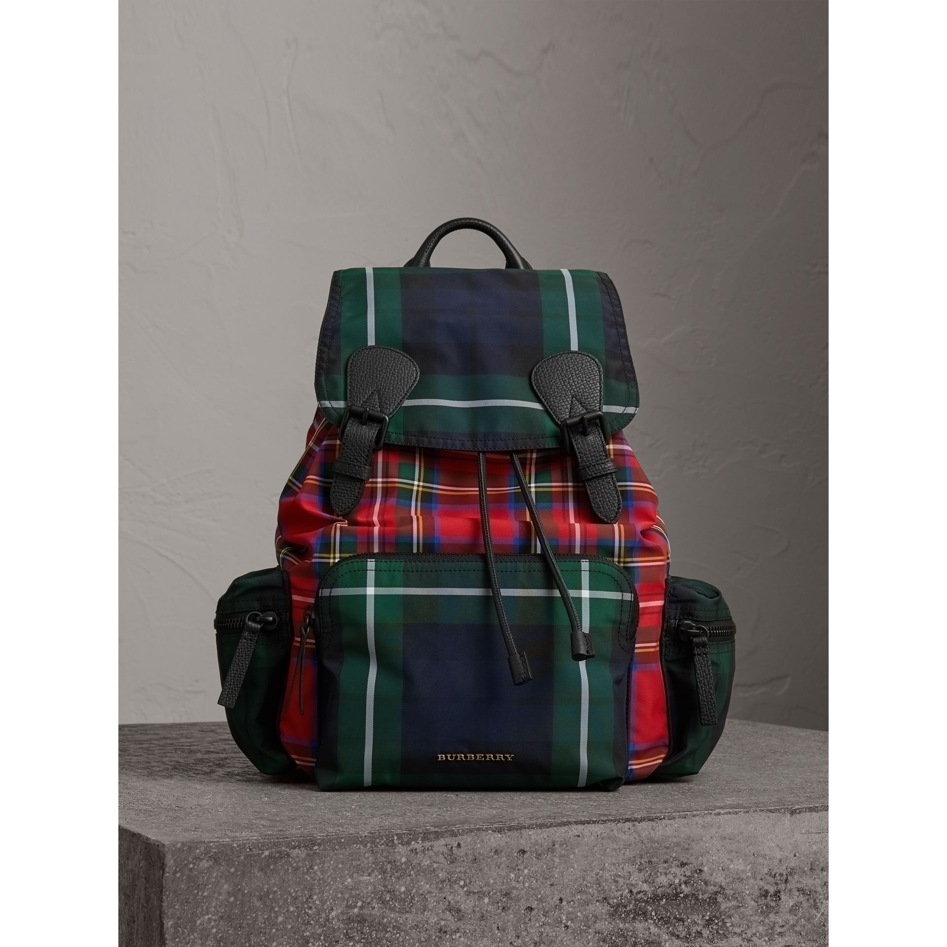 The Large Rucksack in Patchwork Tartan in Military Red | Burberry Singapore - gallery image 5