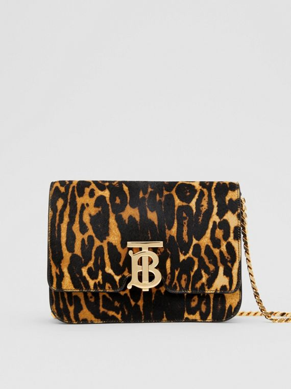 Small Leopard Print Calf Hair TB Bag in Dark Mustard