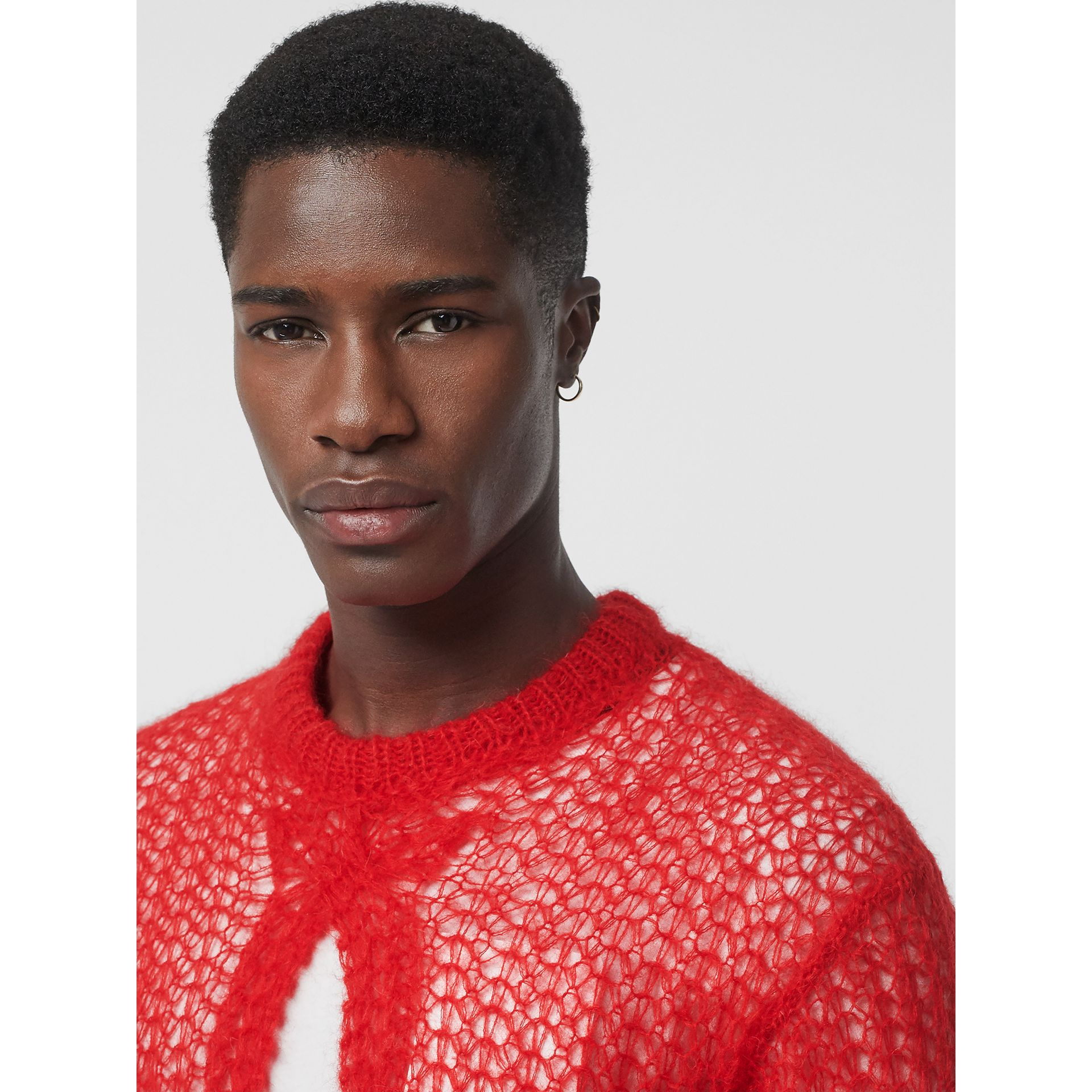Open Knit Mohair Wool Blend Sweater in Bright Red - Men | Burberry - gallery image 1