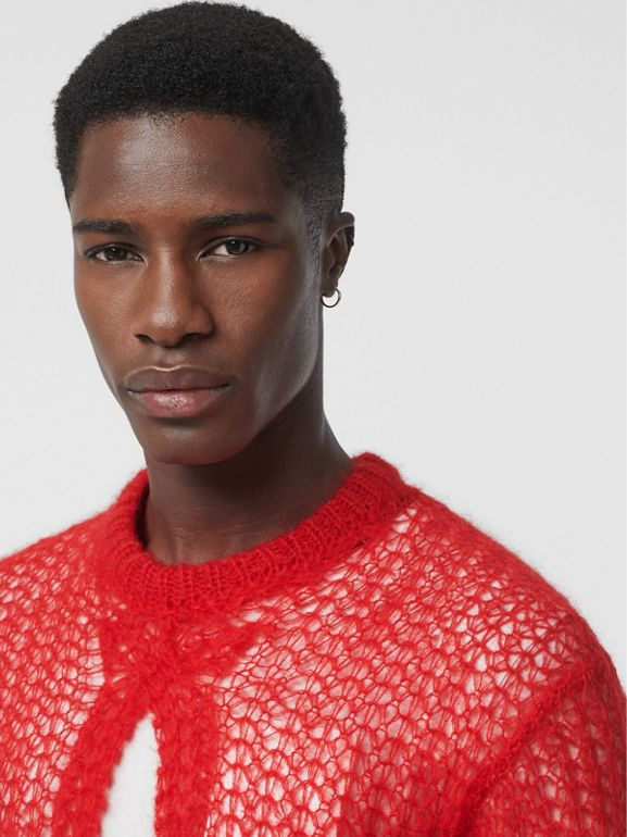 Open Knit Mohair Wool Blend Sweater in Bright Red - Men | Burberry - cell image 1