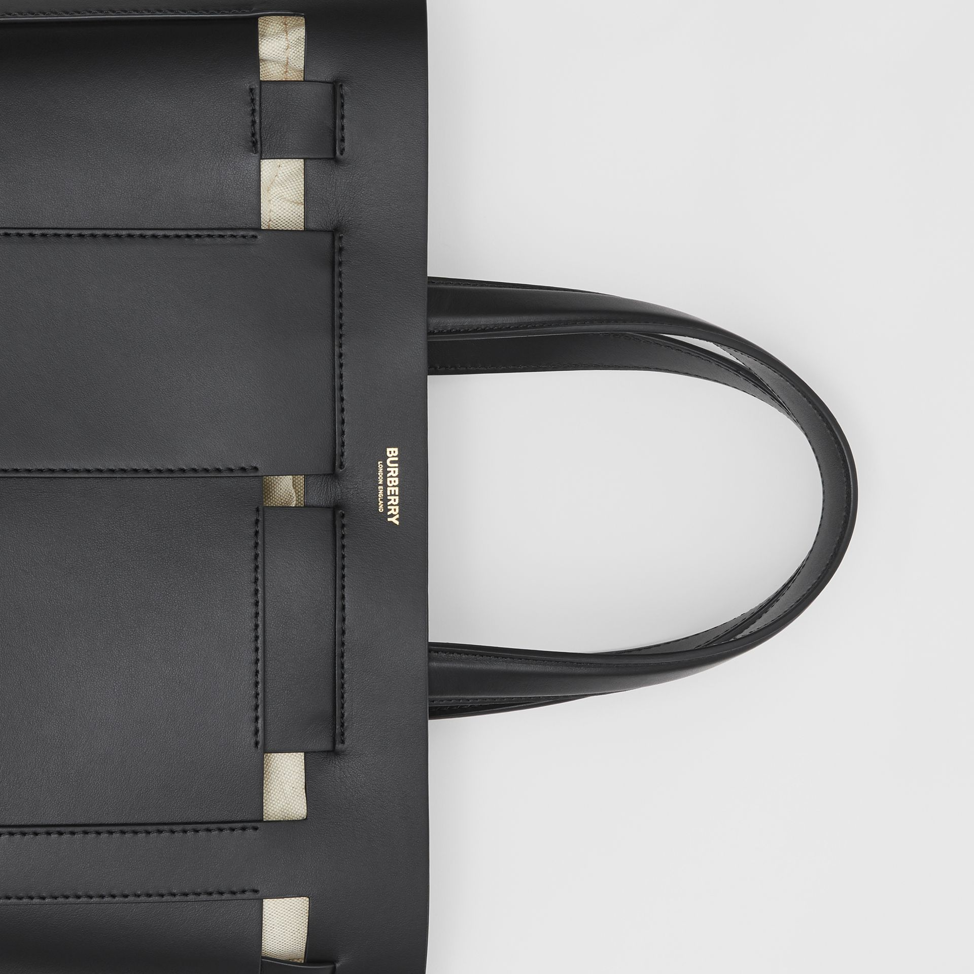 Medium Leather Foster Tote in Black - Women | Burberry - gallery image 1