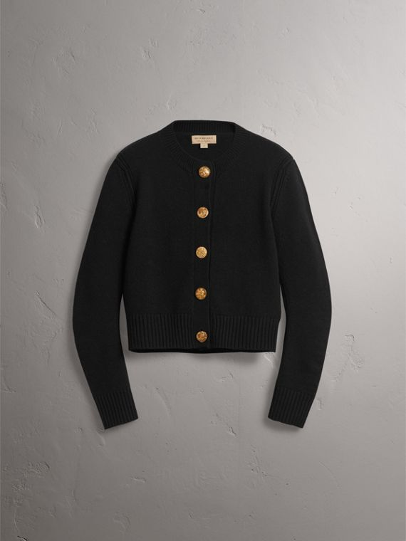 Bird Button Cashmere Cardigan in Black - Women | Burberry United Kingdom - cell image 3