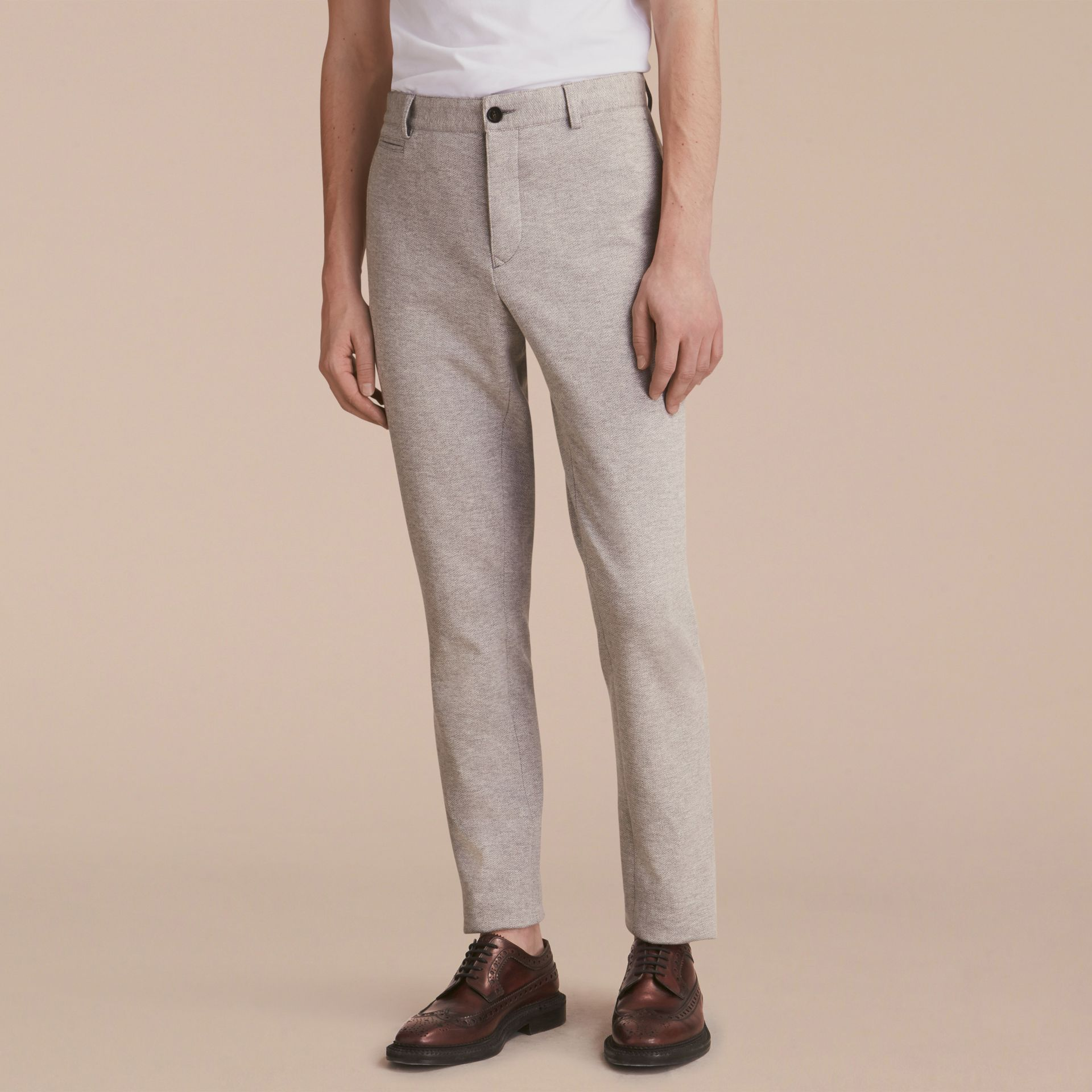 Slim Fit Herringbone Cotton Blend Jersey Trousers - gallery image 6