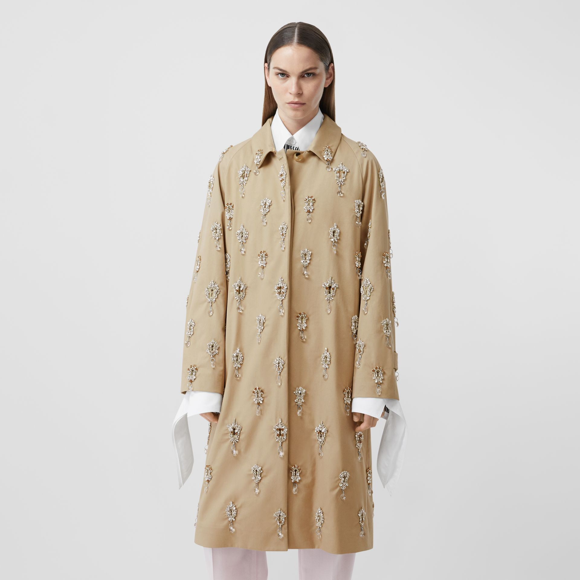 Embellished Cotton Twill Car Coat in Soft Fawn - Women | Burberry - gallery image 5