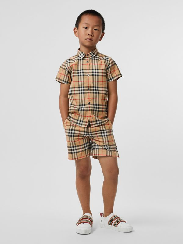 Short-sleeve Vintage Check Cotton Shirt in Archive Beige - Boy | Burberry - cell image 2