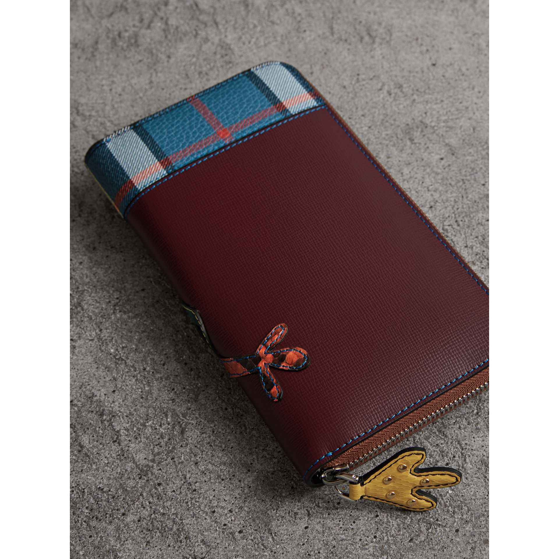 Creature Appliqué Leather Ziparound Wallet in Burgundy Red - Men | Burberry - gallery image 2