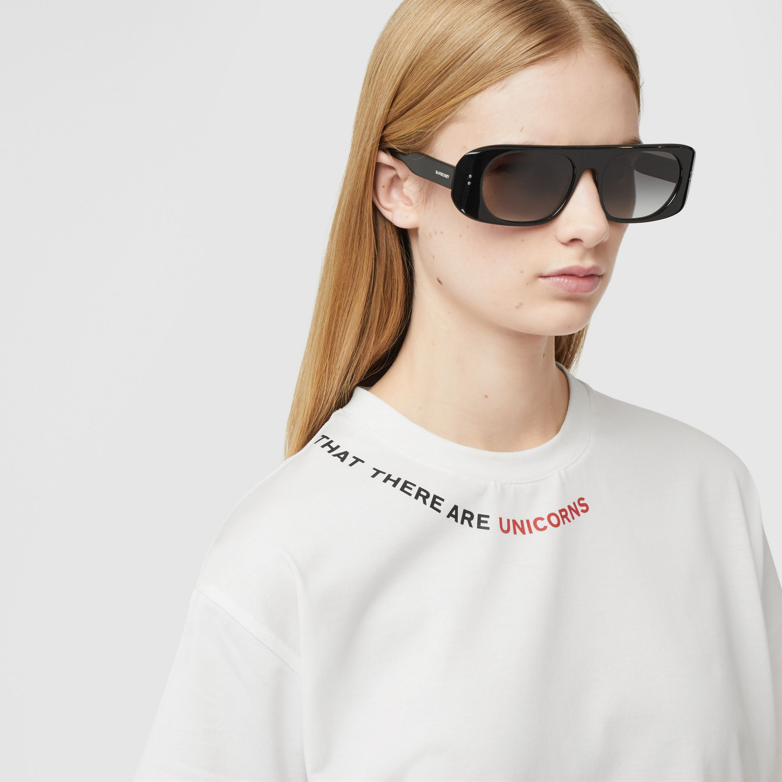 Quote Print Cotton Oversized T-shirt in White - Women | Burberry - 2