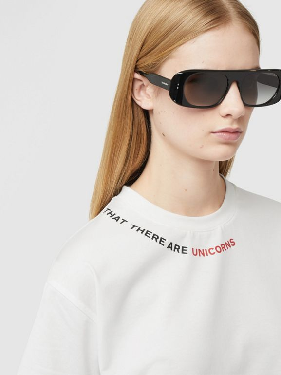 Quote Print Cotton Oversized T-shirt in White - Women | Burberry - cell image 1