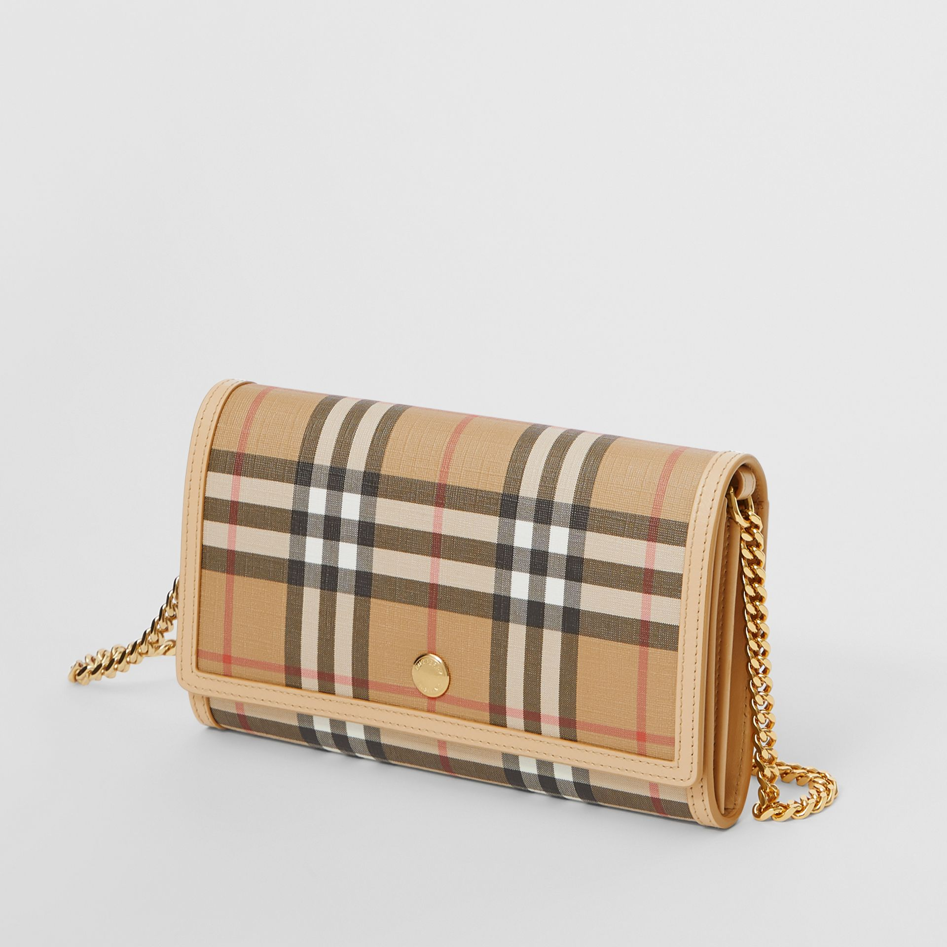 Vintage Check E-canvas Wallet with Detachable Strap in Beige - Women | Burberry United Kingdom - gallery image 3