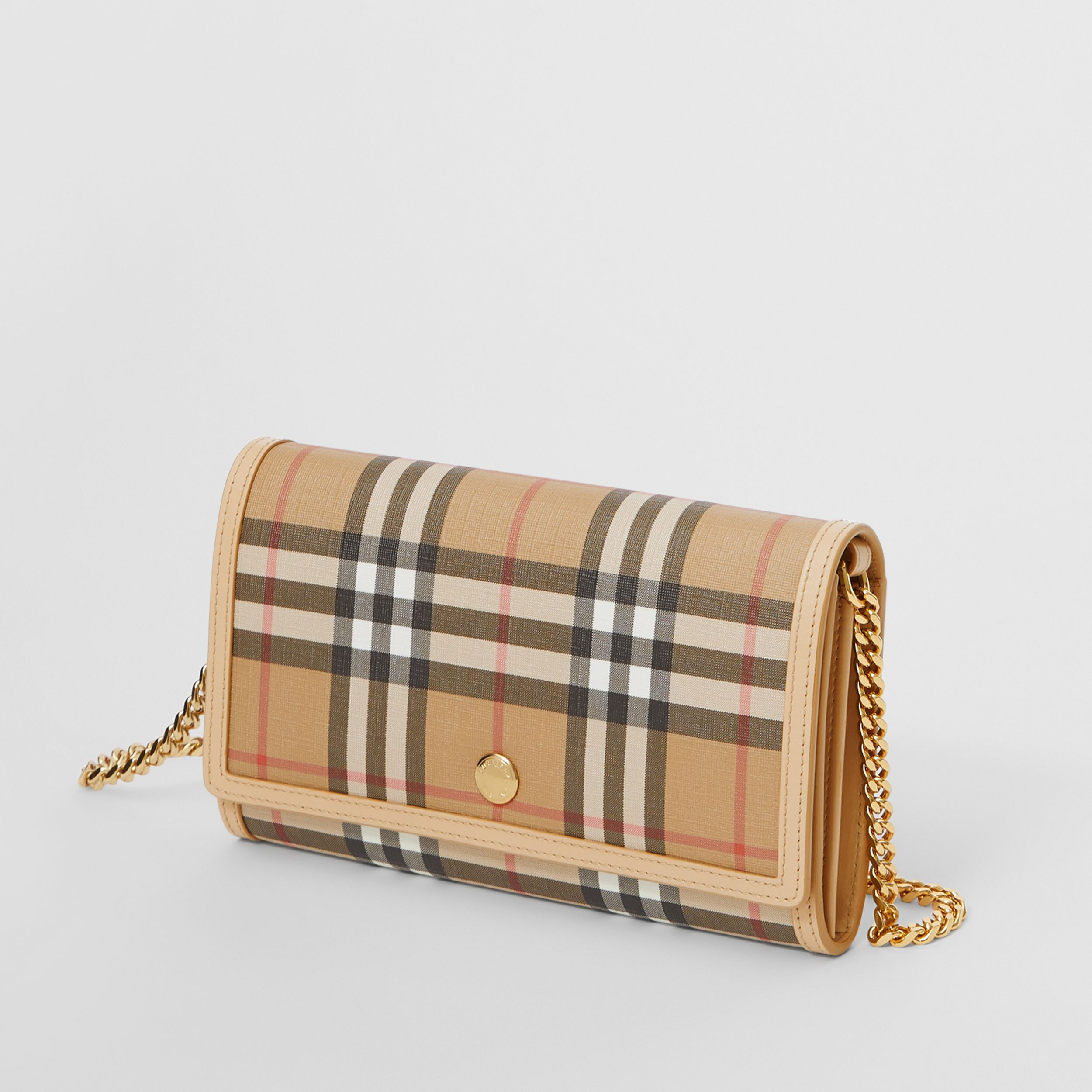 Vintage Check E-canvas Wallet with Detachable Strap in Beige - Women | Burberry United Kingdom - 4