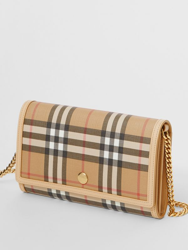 Vintage Check E-canvas Wallet with Detachable Strap in Beige - Women | Burberry United Kingdom - cell image 3