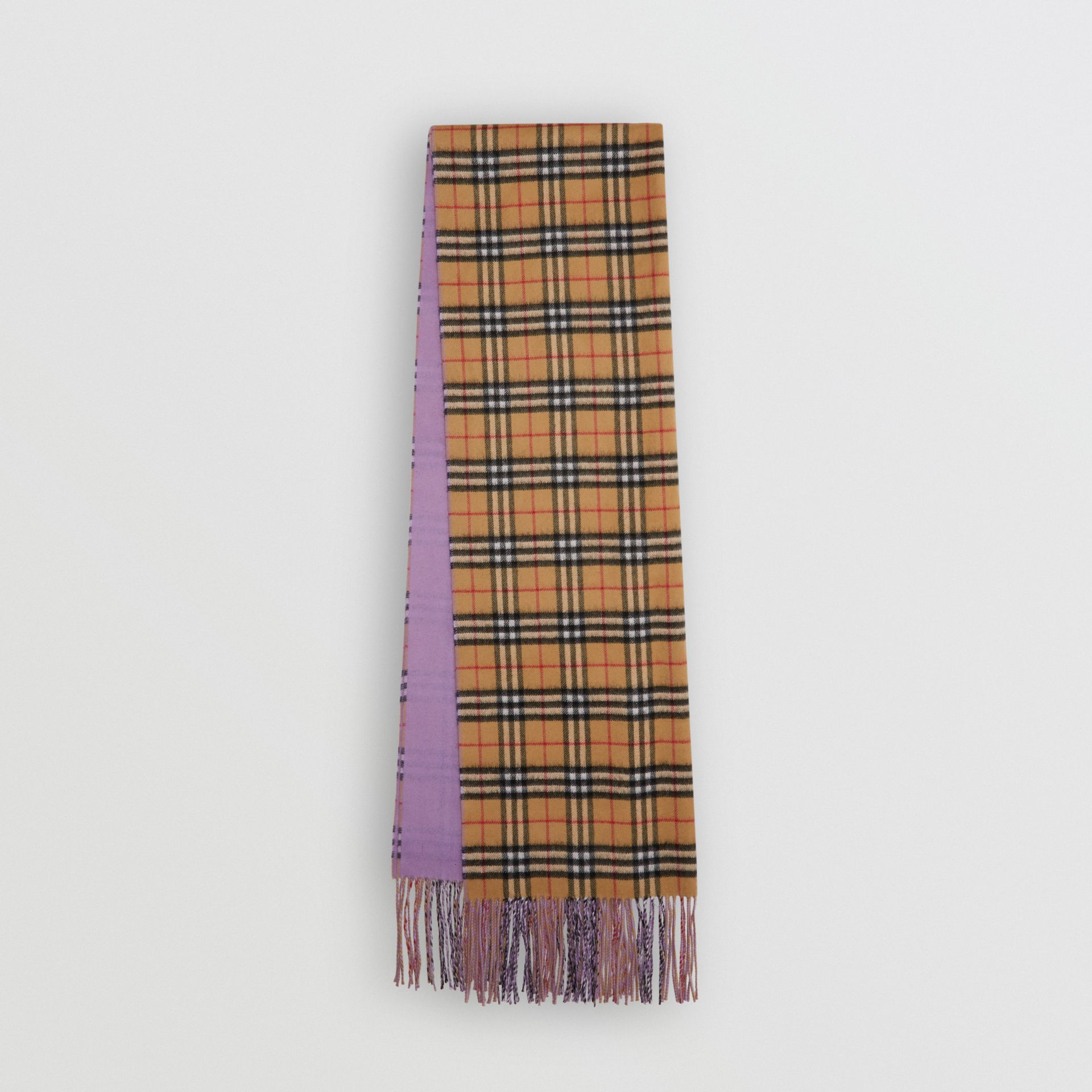 Colour Block Vintage Check Cashmere Scarf in Bright Lilac | Burberry Canada - gallery image 0