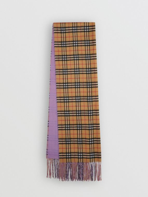 Colour Block Vintage Check Cashmere Scarf in Bright Lilac
