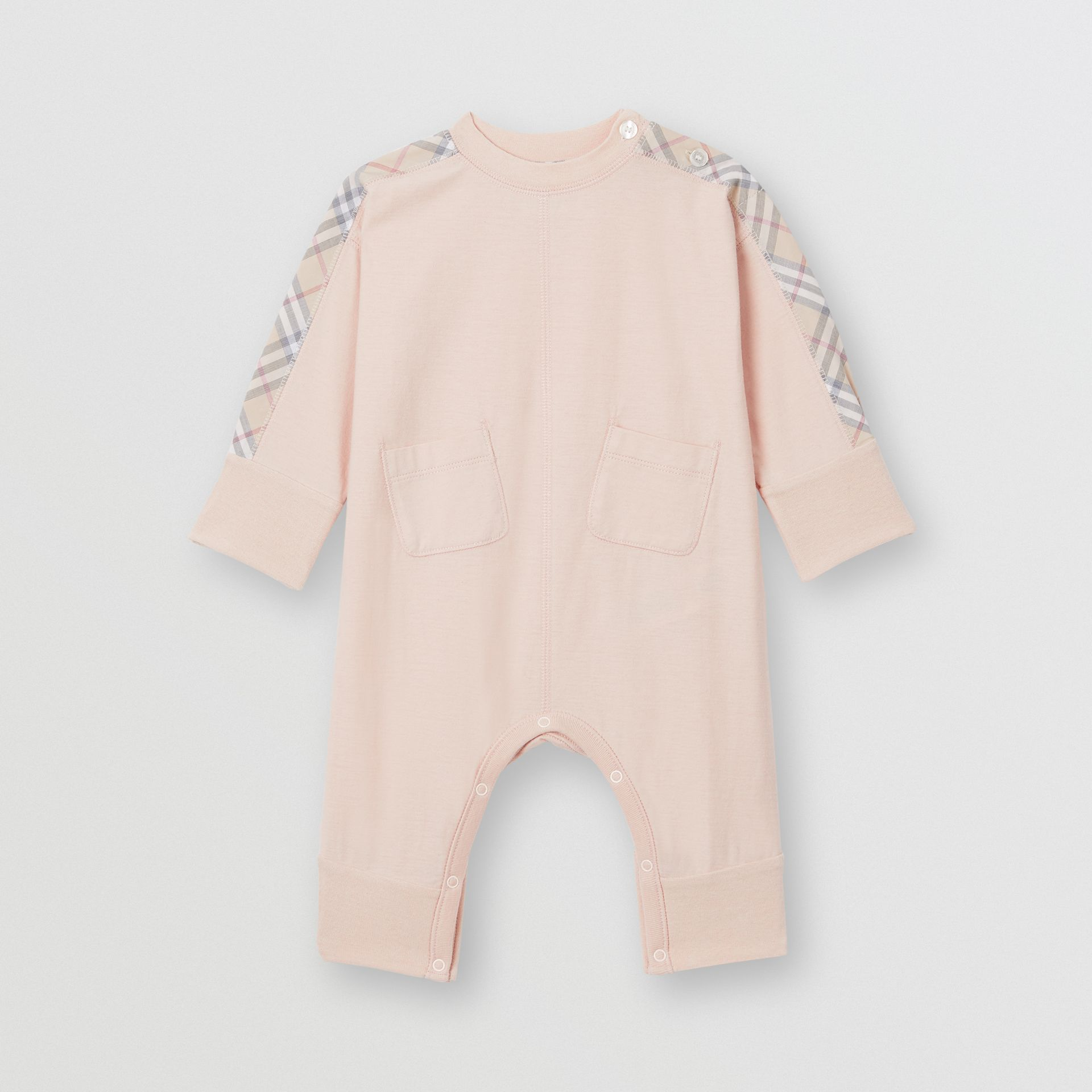 Check Cotton Three-piece Baby Gift Set in Pale Rose Pink - Children | Burberry United Kingdom - gallery image 2