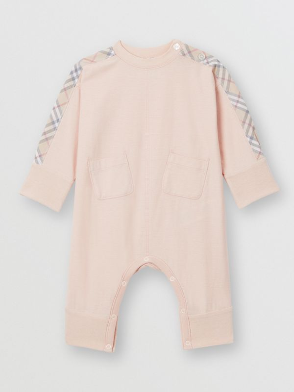 Check Cotton Three-piece Baby Gift Set in Pale Rose Pink - Children | Burberry United Kingdom - cell image 2