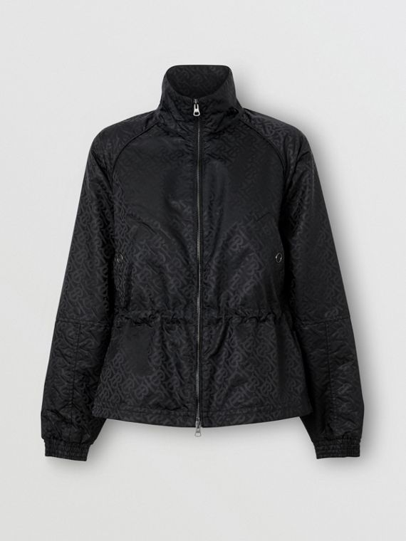 Monogram ECONYL® Jacquard Funnel Neck Jacket in Black
