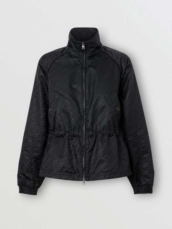 Monogram ECONYL® Jacquard Funnel Neck Jacket in Black - Women | Burberry - cell image 3