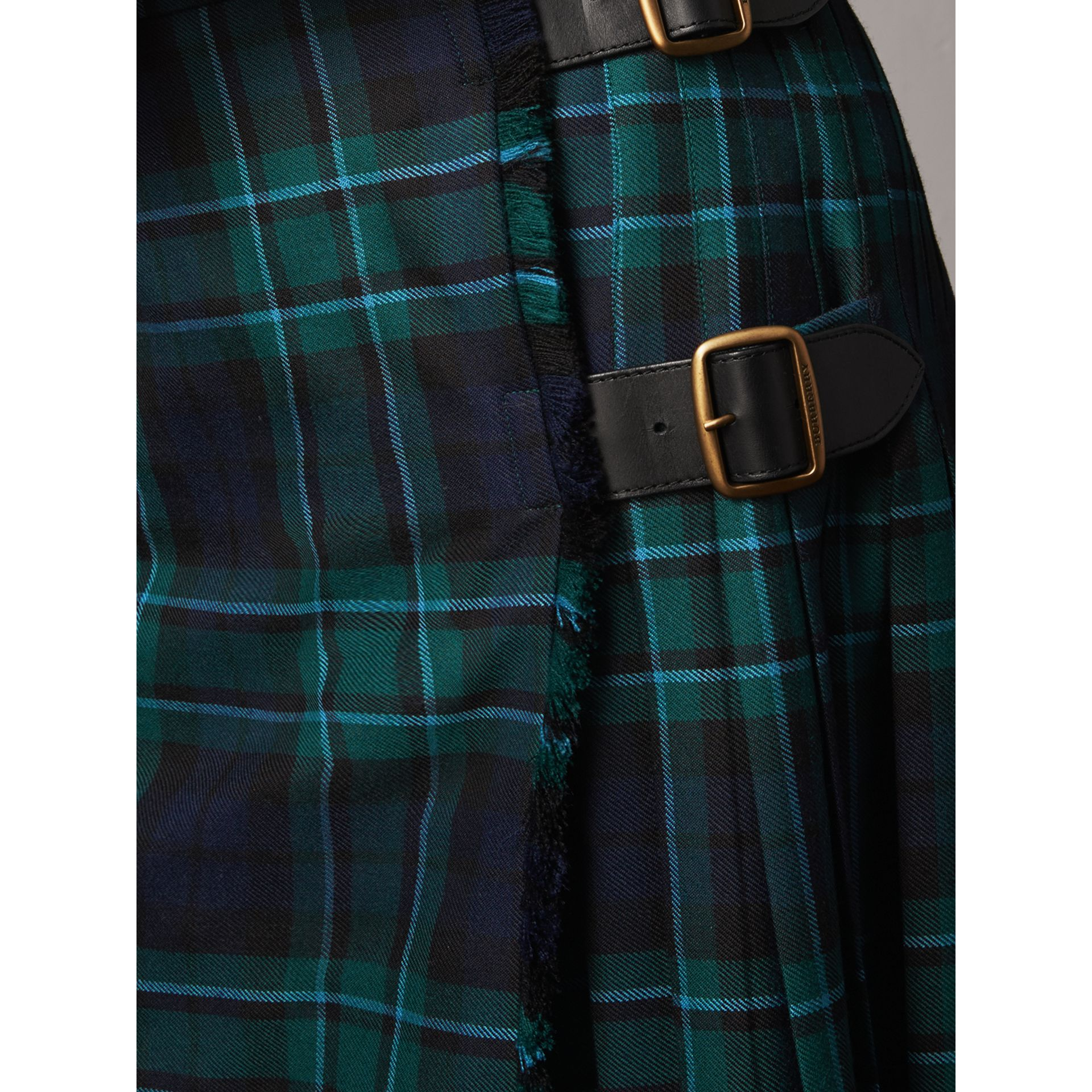Tartan Wool Kilt in Pine Green - Women | Burberry Singapore - gallery image 2