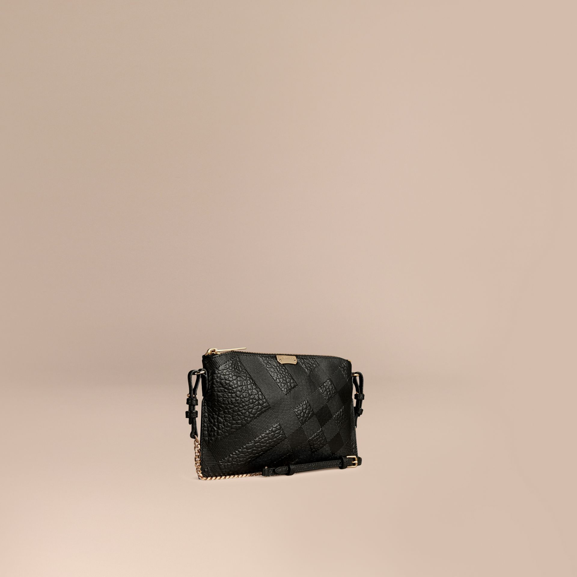 Black Check-embossed Leather Clutch Bag Black - gallery image 1