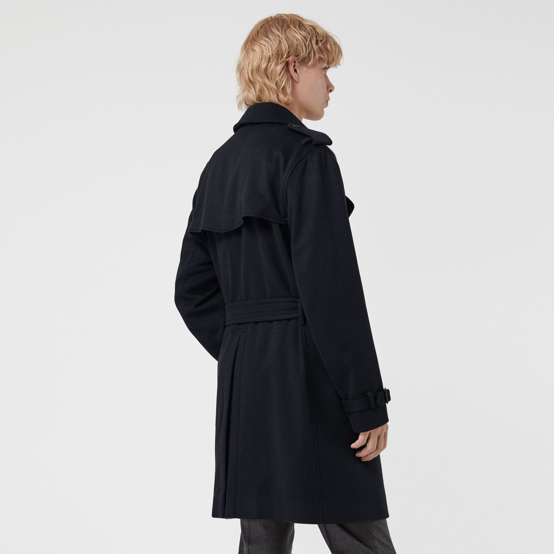 Cashmere Trench Coat in Navy - Men | Burberry - gallery image 2