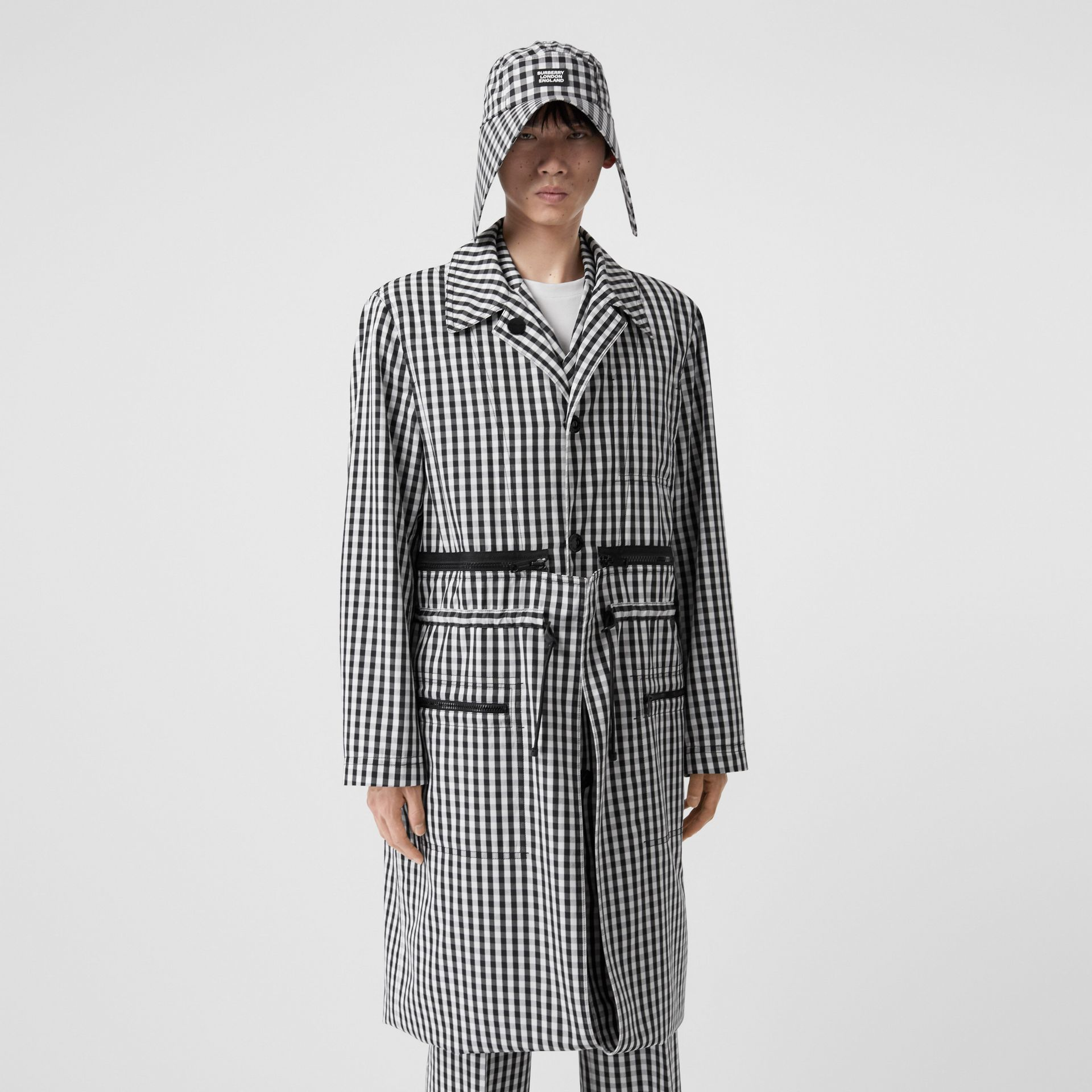 Gingham Technical Wool Loop-back Car Coat in Black | Burberry - gallery image 0