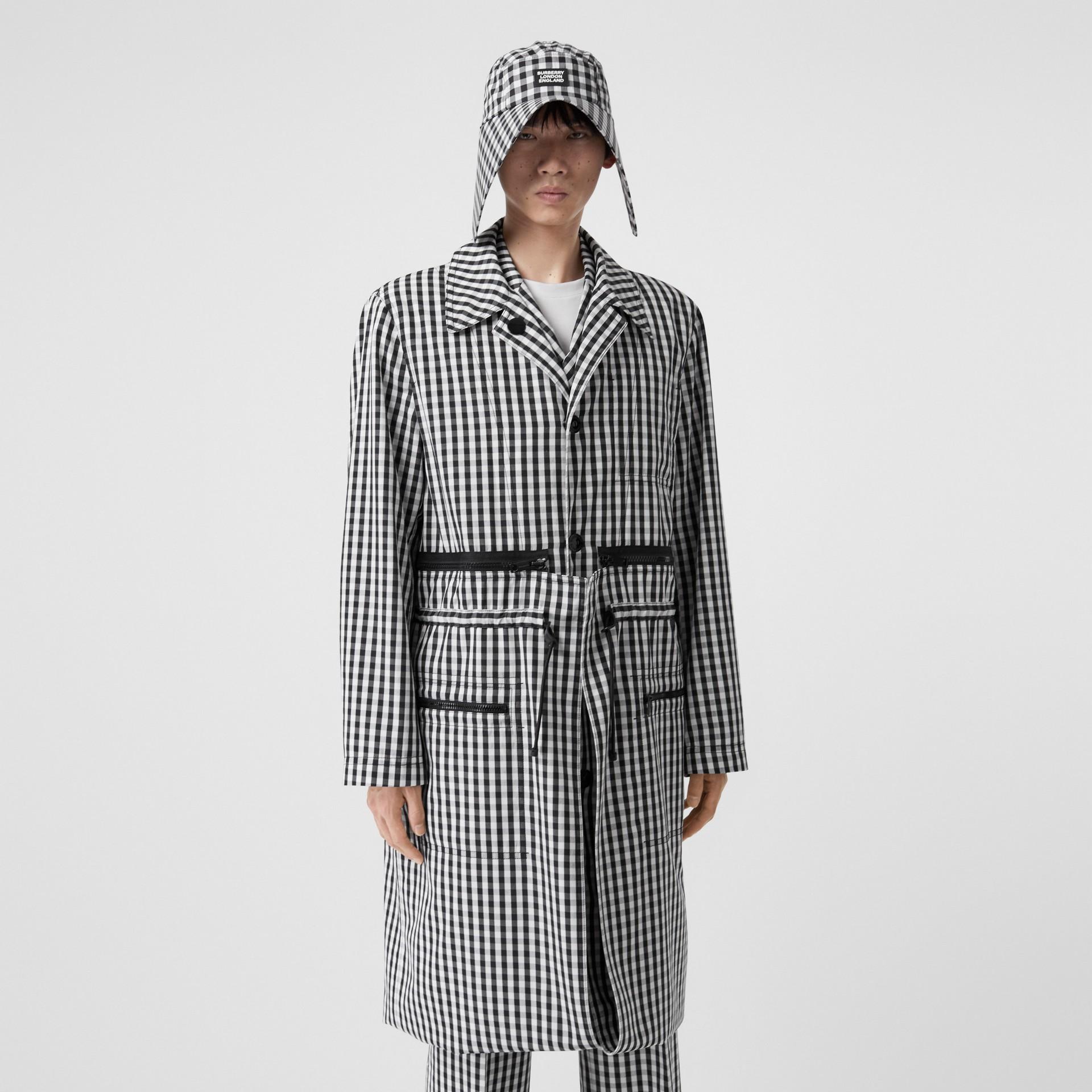 Gingham Technical Wool Loop-back Car Coat in Black | Burberry Canada - gallery image 0