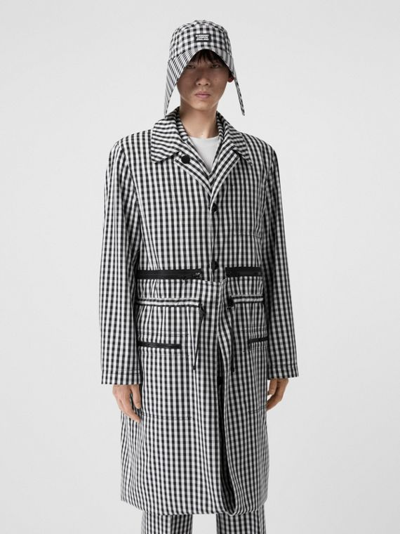Gingham Technical Wool Loop-back Car Coat in Black