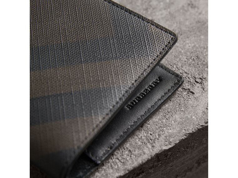 London Check and Leather Passport Holder in Chocolate/black - Men | Burberry - cell image 1