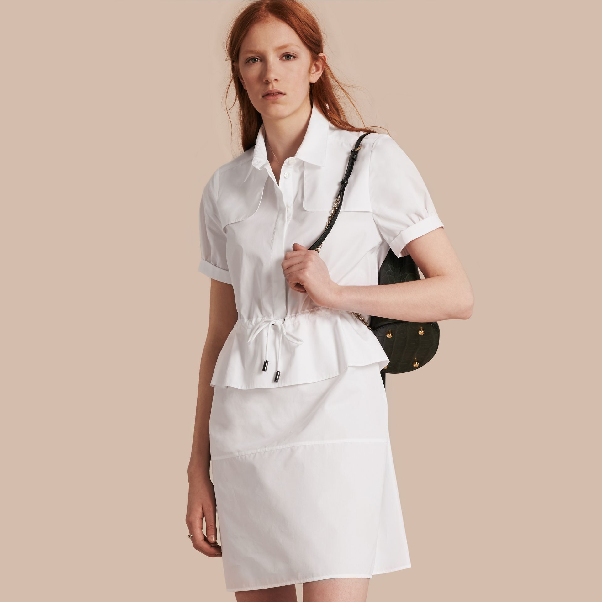 White Peplum Detail Cotton Shirt Dress - gallery image 1