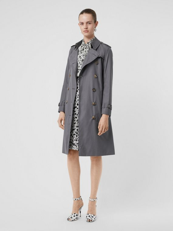 The Long Kensington Heritage Trench Coat in Mid Grey