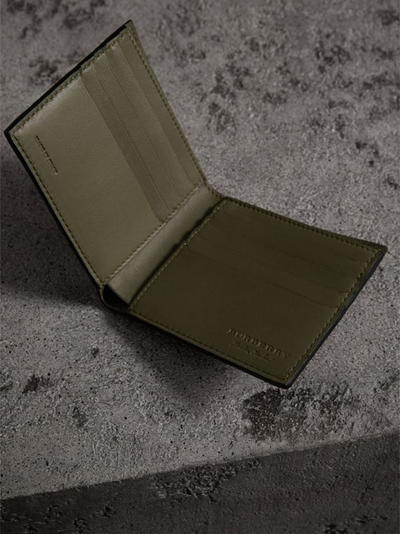 Splash Trench Leather International Bifold Wallet in Slate Green/splash - Men | Burberry - cell image 3