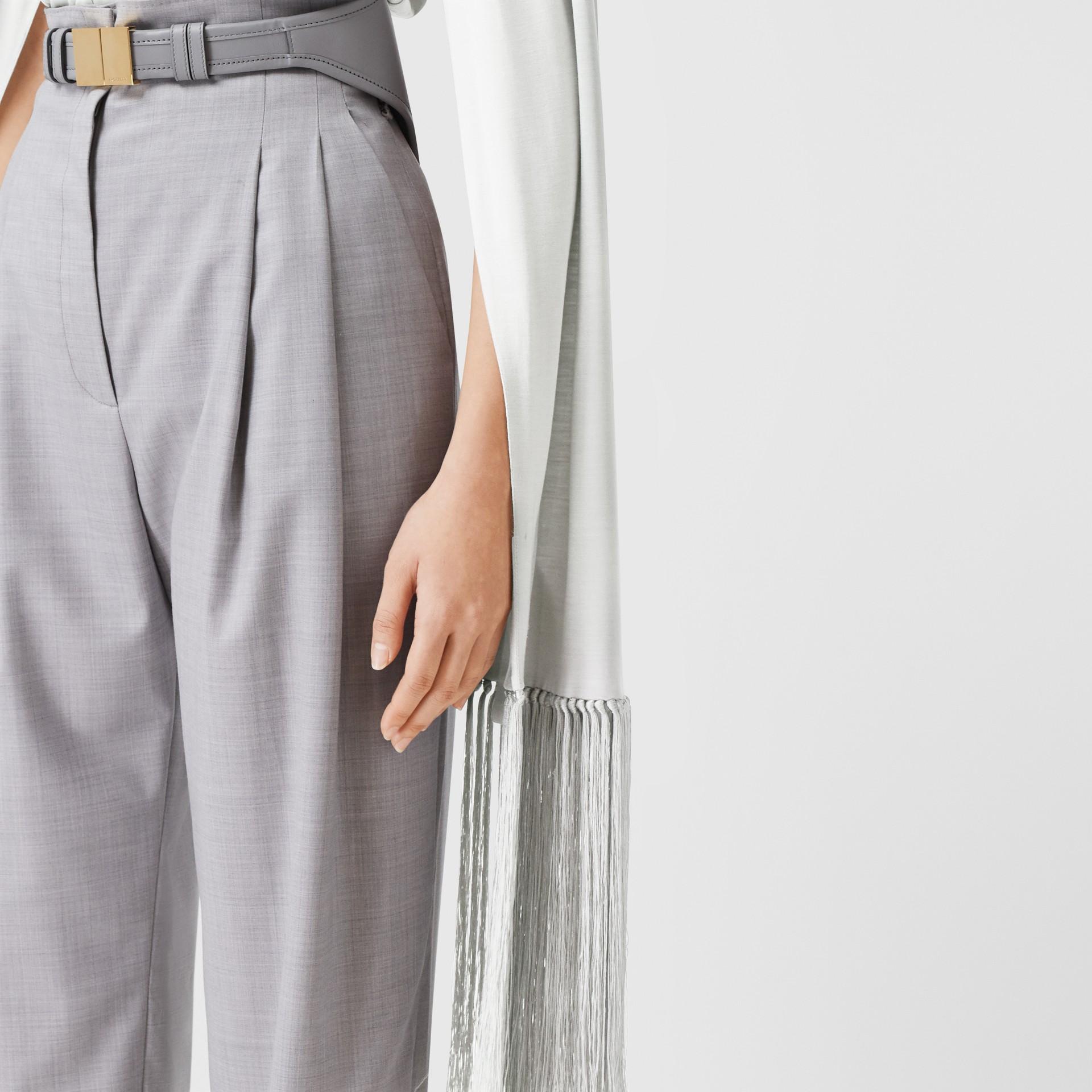 Fringed Silk Wool Jersey Shirt in Grey Melange - Women | Burberry Canada - gallery image 5