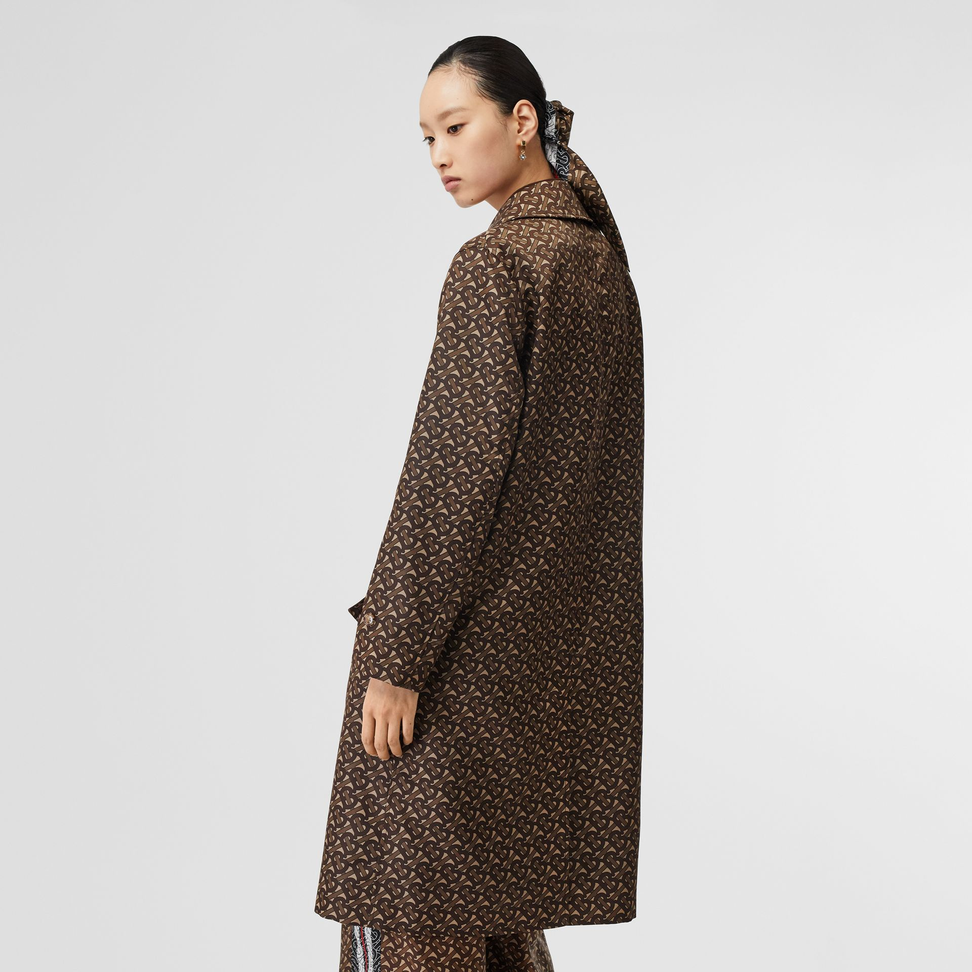 Monogram Stripe Print Nylon Car Coat in Bridle Brown - Women | Burberry - gallery image 2
