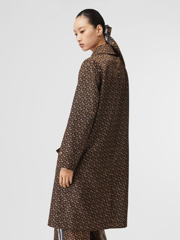 Monogram Stripe Print Nylon Car Coat in Bridle Brown - Women | Burberry - cell image 2